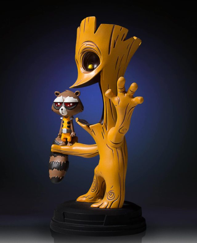 Side View of Gentle Giant Rocket Raccoon Groot Marvel Animated Statue