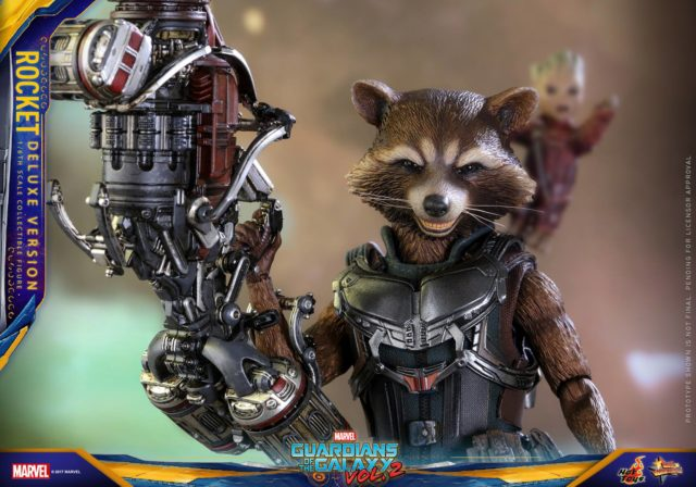 Close-Up of Deluxe Rocket Raccoon Hot Toys Figure 2017