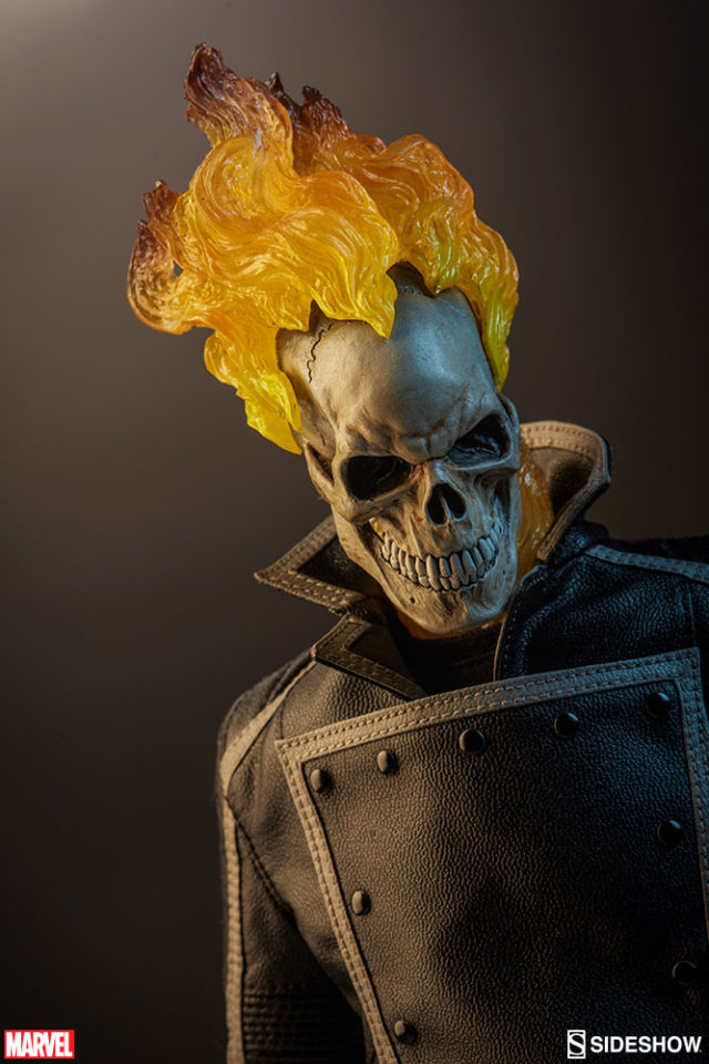 Close-Up of Ghost Rider Sideshow 12 Inch Figure Flaming Skull Head