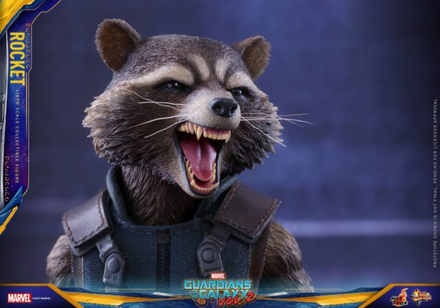 Close-Up of Hot Toys GOTG 2 Rocket Raccoon Open Mouthed Screaming Head