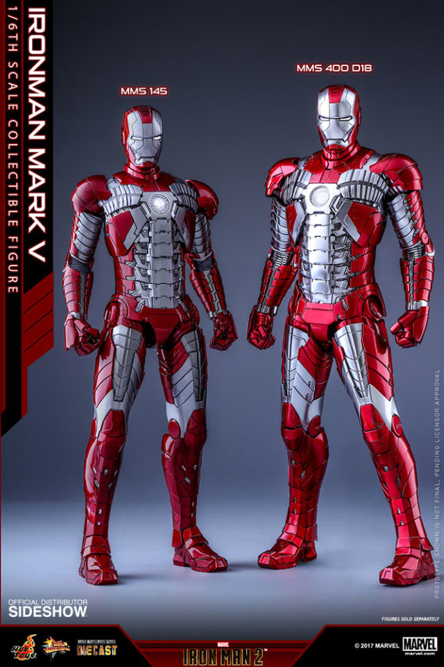 Comparison of Original Hot Toys Mark V Iron Man and Die-Cast Iron Man Mark 5 Figures