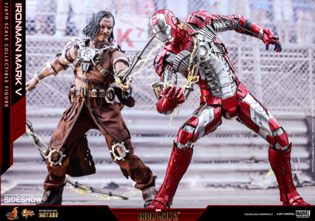 Hot Toys Whiplash vs Die-Cast Iron Man Mark V Suitcase Armor