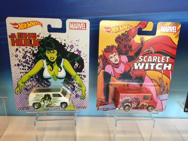 Hot Wheels She-Hulk and Scarlet Witch Cars Packaged