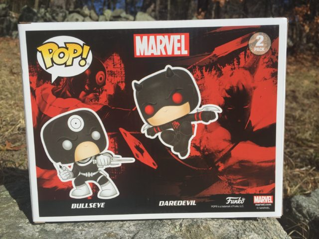Box Back Bullseye vs. Daredevil Funko POP Vinyls