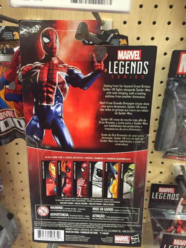 Spider-UK Marvel Legends 2017 4 Inch Figure Hasbro Cardback