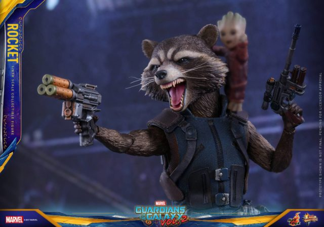 Rocket Raccoon Hot Toys Guardians of the Galaxy Vol 2 Figure Dual Wielding