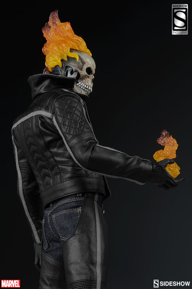 Side View of Sideshow Collectibles Exclusive Ghost Rider Figure with Hellfire Hands