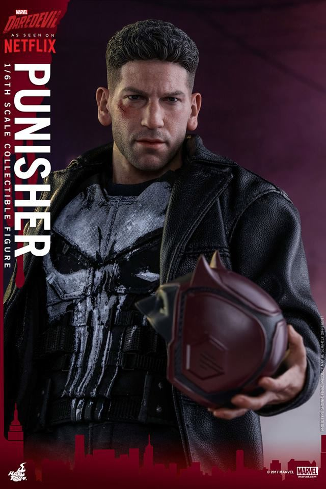 Close-Up of Hot Toys Punisher Holding Daredevil's Helmet