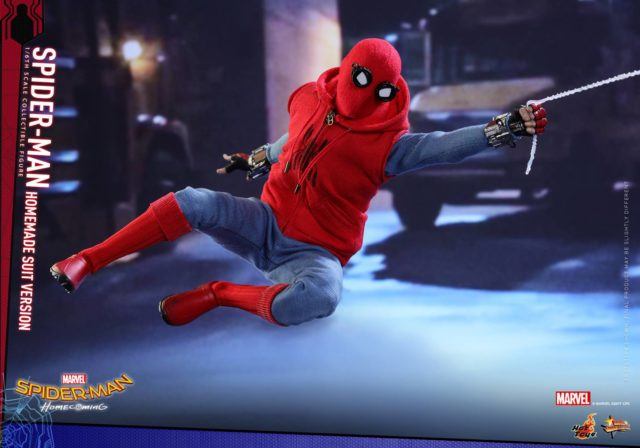 Hot Toys Homemade Suit Spider-Man Figure Web Swinging