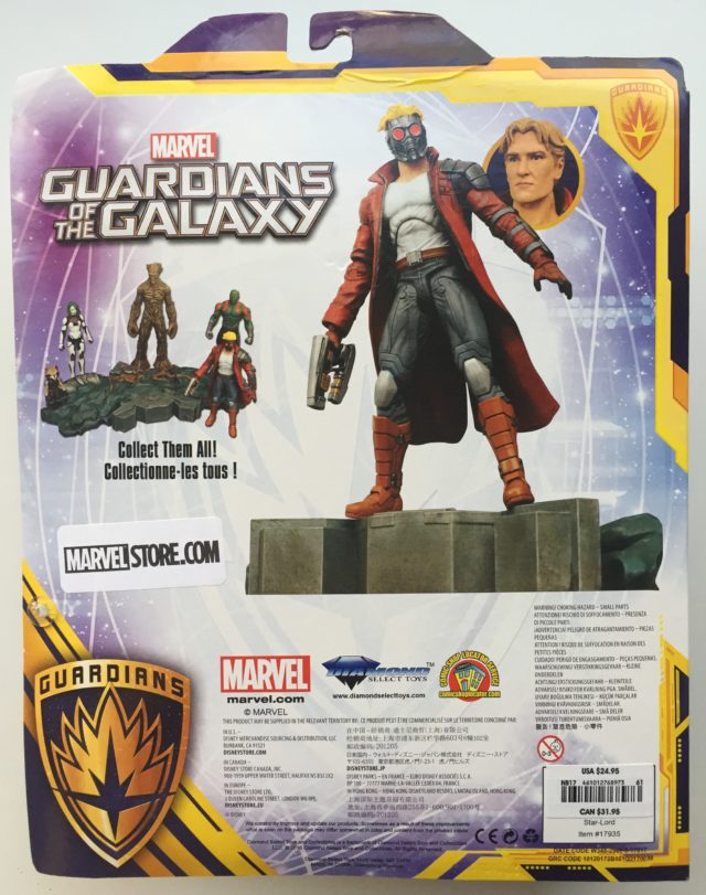 Box Back Marvel Select Exclusive Star Lord Action Figure