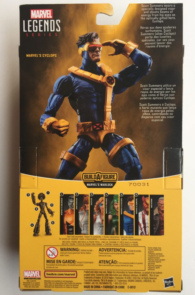Packaging Back X-Men Marvel Legends Cyclops Warlock Series
