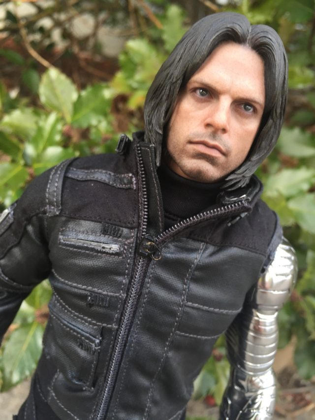 Close-Up of Sebastian Stan Hot Toys Bucky Portrait Head Likeness Civil War