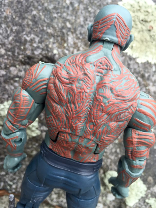 Sculpted Tattoos on Back of Hasbro Marvel Legends Drax Figure GOTG 2