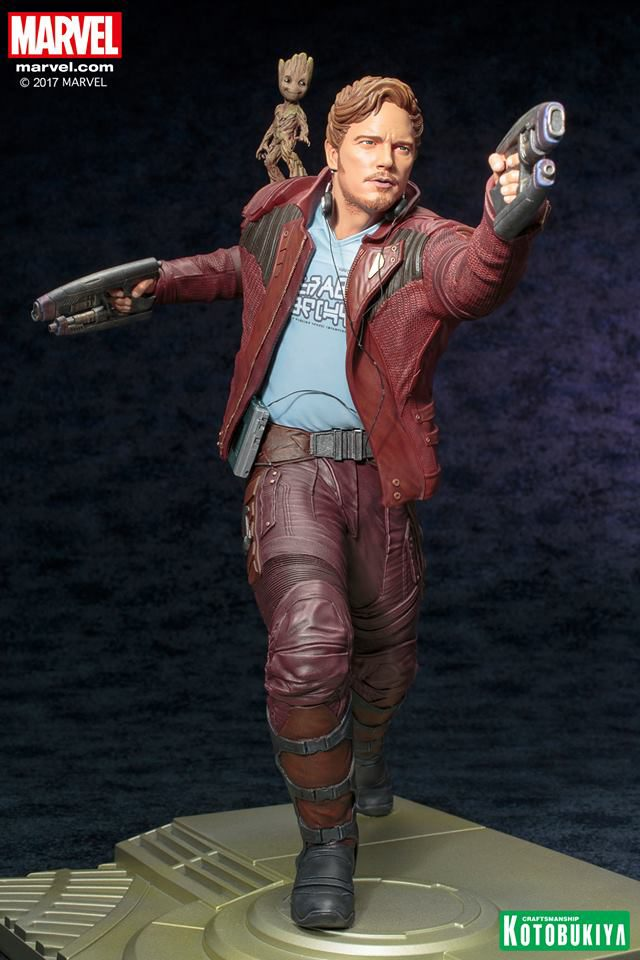 Kotobukiya Star-Lord ARTFX Statue with Groot on Shoulder