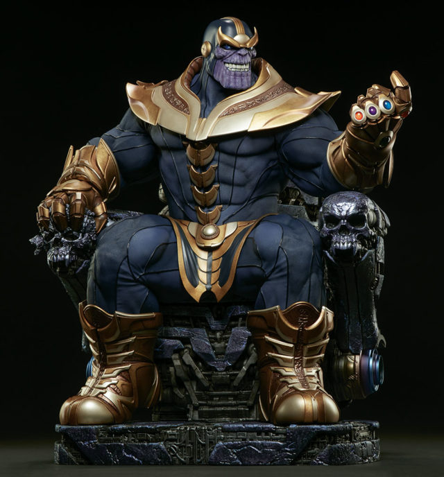 Sideshow Collectibles Thanos EX Statue on Throne Smiling Head