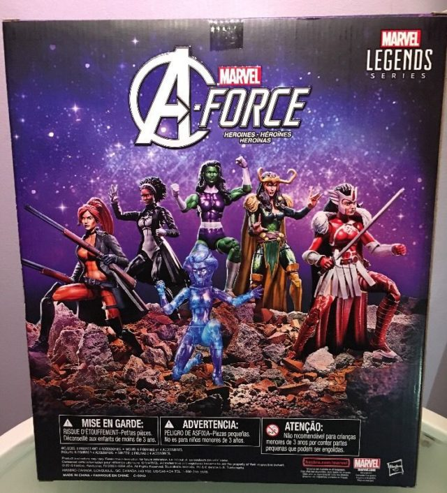 Back of A-Force Marvel Legends Box Set Box