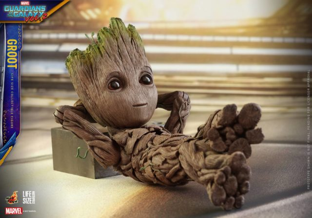 Hot Toys GOTG Vol. 2 Little Groot Laying on Crate