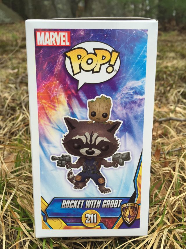 Funko POP Marvel 211 Rocket with Groot Box Side Art