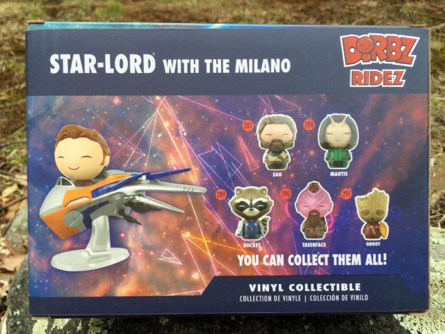 Back of Box Funko Guardians of the Galaxy Milano Dorbz Ridez Set