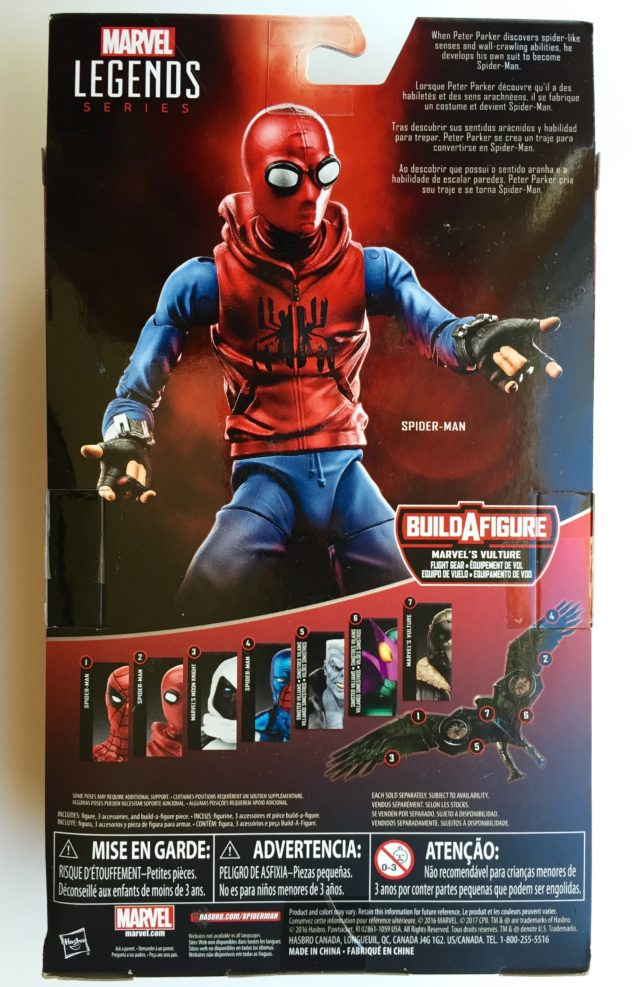 Back of Package Marvel Legends Spider-Man Homecoming Home Made Costume Spider-Man Box