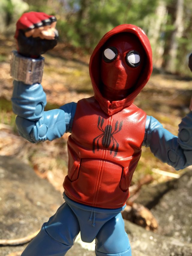 Close-Up of Spider-Man Legends Figure with Hoodie Up