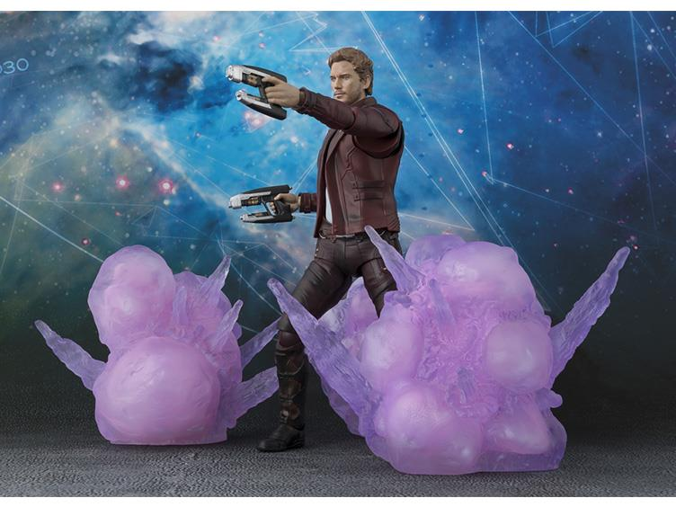 SH Figuarts Star-Lord Figure with Purple Explosions Effects Pieces