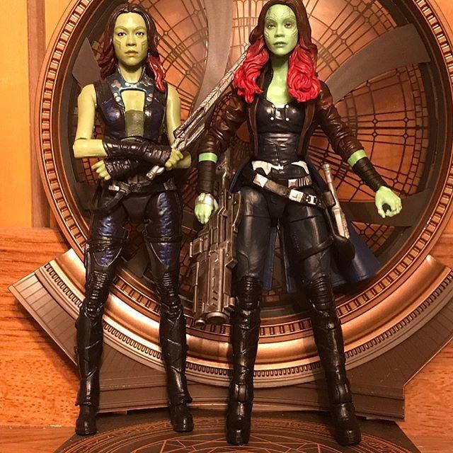 Comparison of Marvel Legends 2017 Gamora and 2014 Gamora
