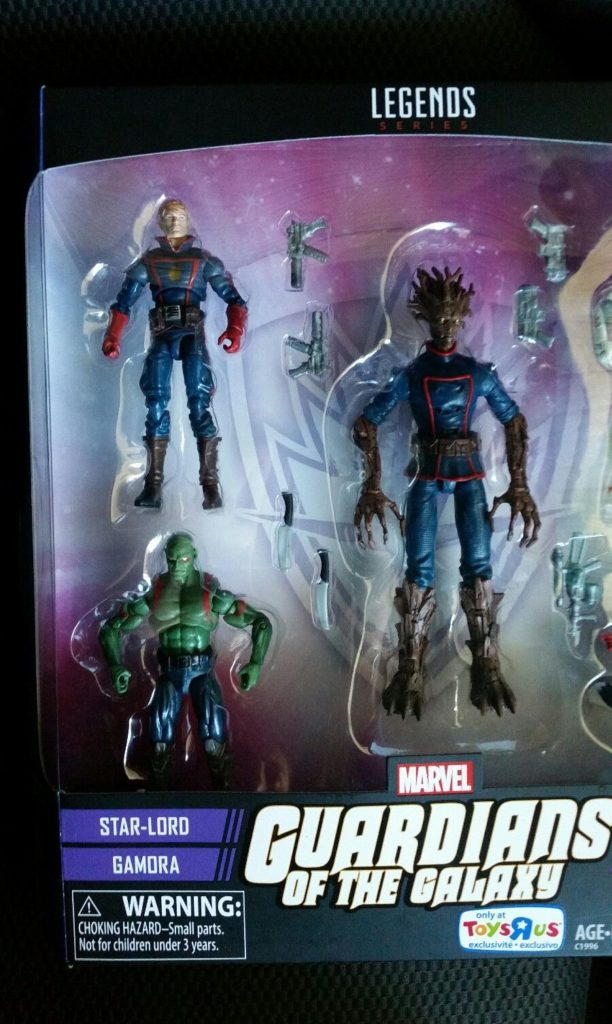 Guardians of the Galaxy Marvel Legends Toys R Us Star-Lord Drax Groot Figures