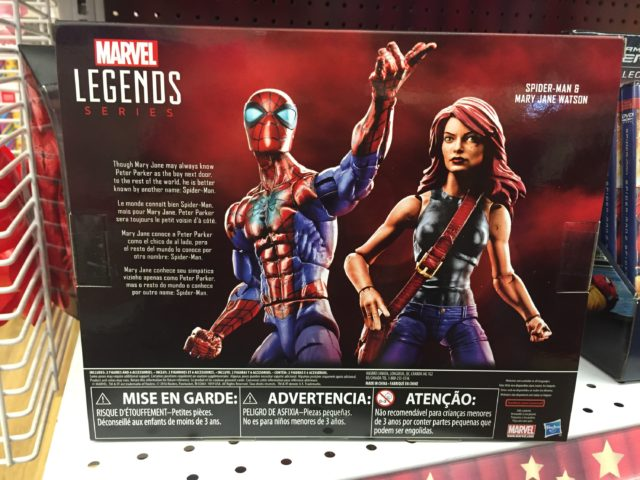 Back of Toys R Us Marvel Legends Mary Jane Spider-Man Two-Pack