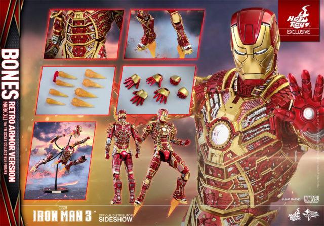 Hot Toys Retro Bones Iron Man Figure and Accessories