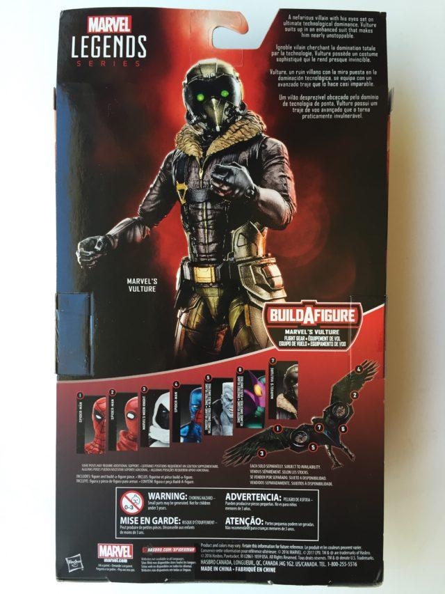 Back of Marvel Legends Vulture Figure Packaging