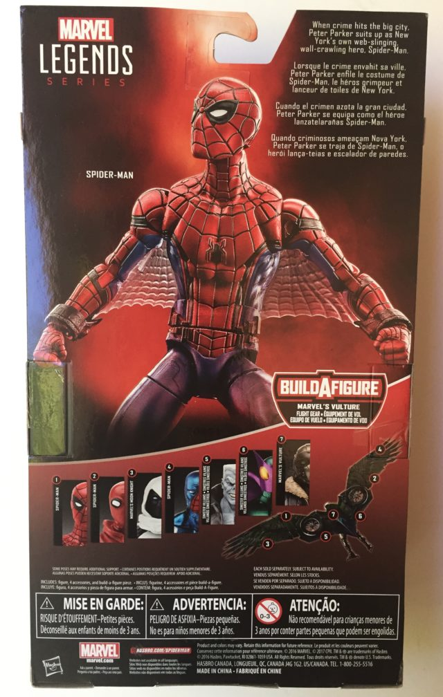 Back of Box Web Wings Spider-Man Tech Suit Marvel Legends Figure