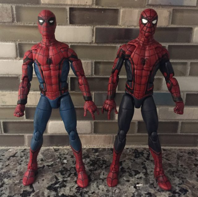 Comparison of Marvel Legends Homecoming Spider-Man and Civil War Spider-Man Figures