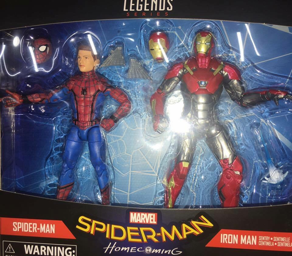 marvel legends spider man homecoming iron man 2 pack photos