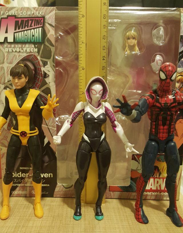 Spider-Gwen Revoltech Size Comparison with Marvel Legends