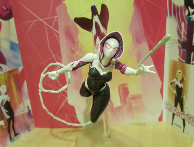 Spider-Gwen Six Inch Figure Revoltech Web Swinging