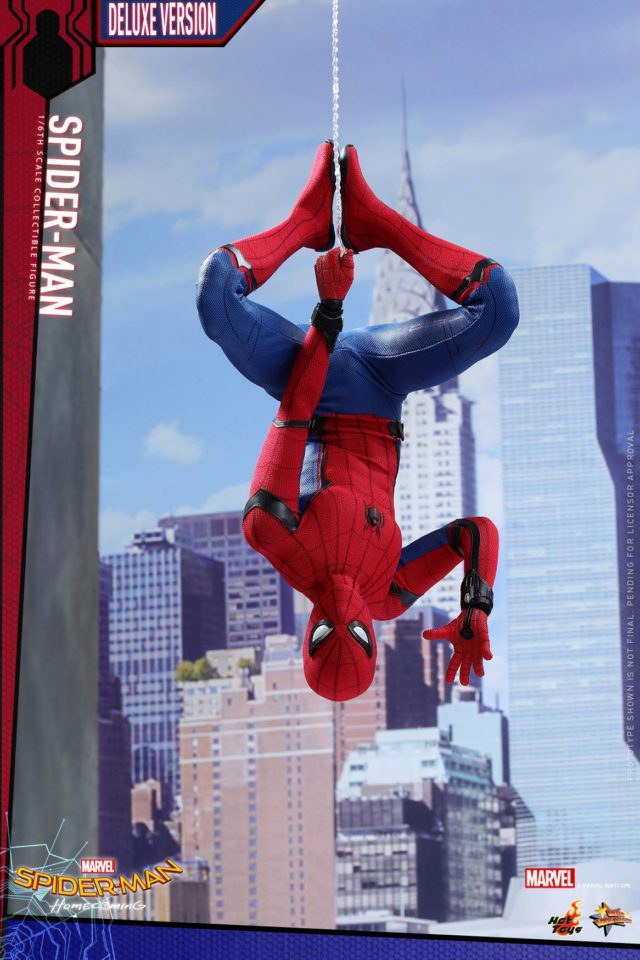 Spider-Man Homecoming Hot Toys Sixth Scale Figure Handing Upside Down