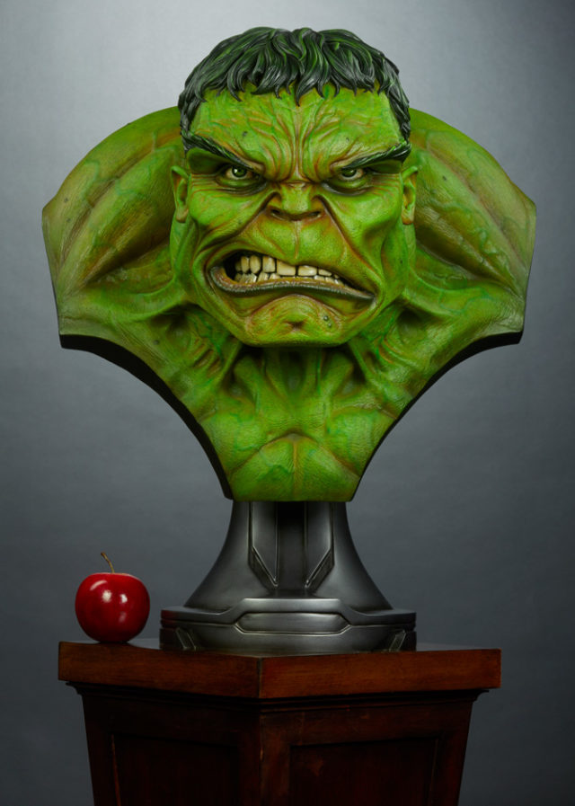 Hulk Sideshow Life Size Bust Size Comparison with Apple