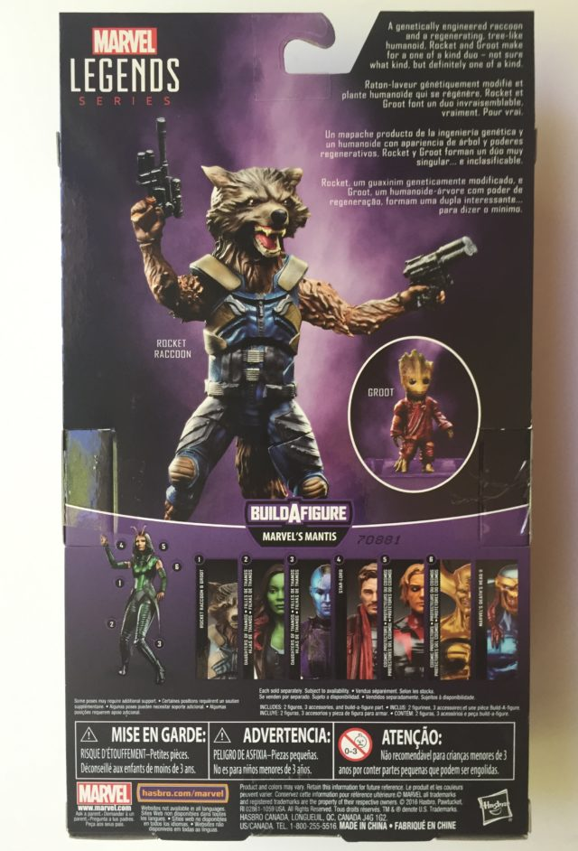 Back of Packaging ML Rocket Raccoon GOTG 2 Figure