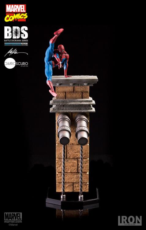 Iron Studios Spider-Man BDS Statue on Top of Bridge Base