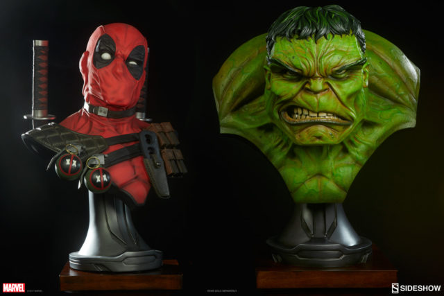 Size Comparison Photo of Sideshow Hulk and Deadpool Busts