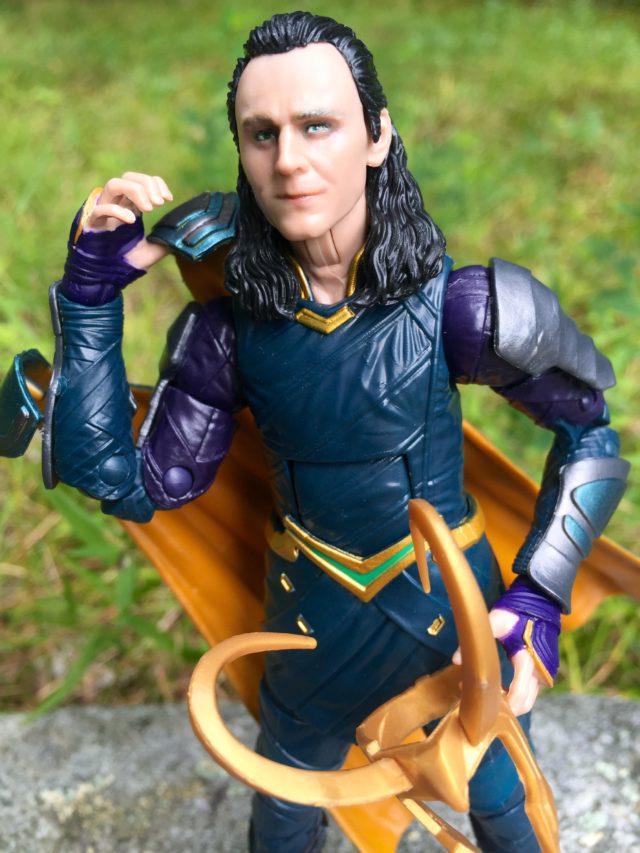 Close-Up of Tom Hiddleston Loki Marvel Legends Figure Portrait