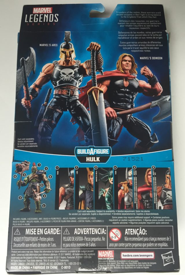 Back of Packaging Thor Ragnarok Ares Figure Hasbro