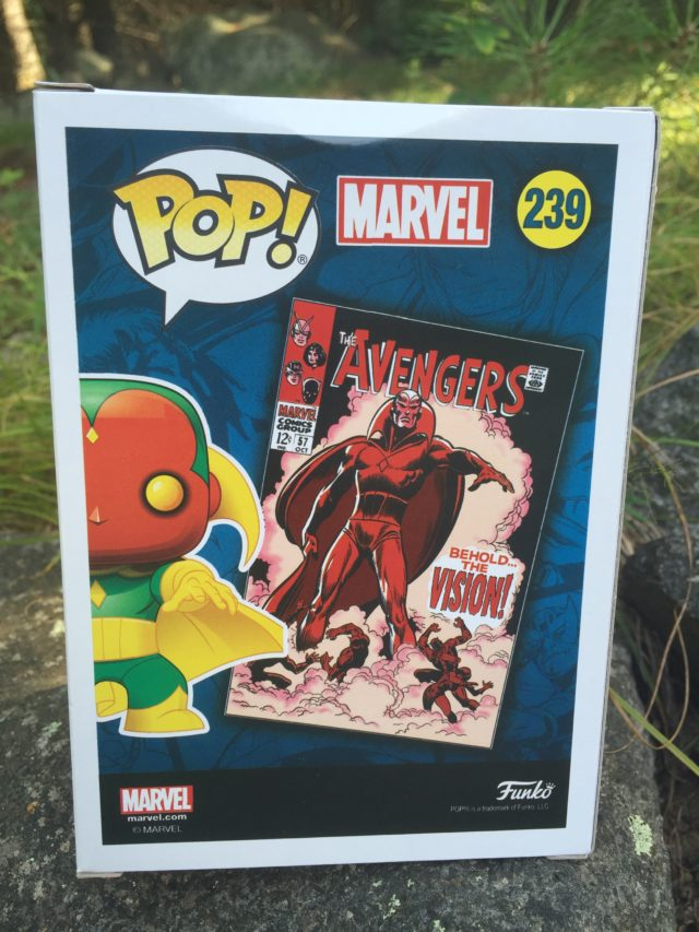 Box Back Funko POP Vision Avengers 59 Exclusive