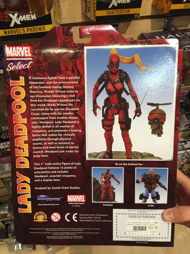 Back of Marvel Select Lady Deadpool Packaging