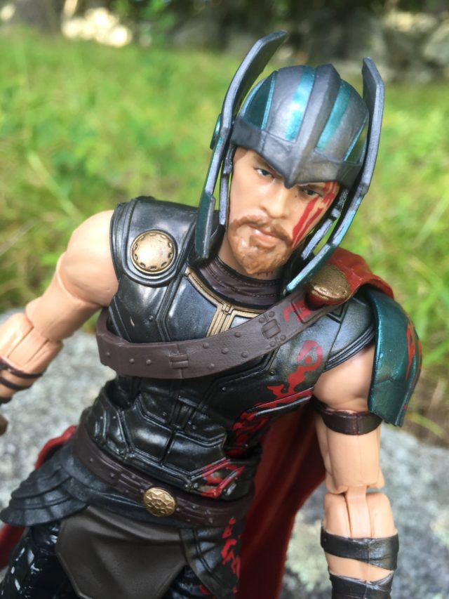 Close-Up of Gladiator Thor Marvel Legends Helmet Bent