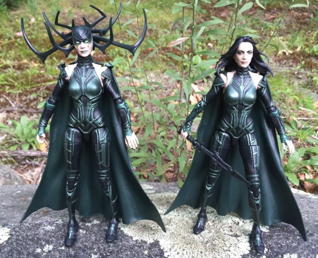 "Comparison of Marvel Legends Hela 6"" Movie Figure with and without Mask"