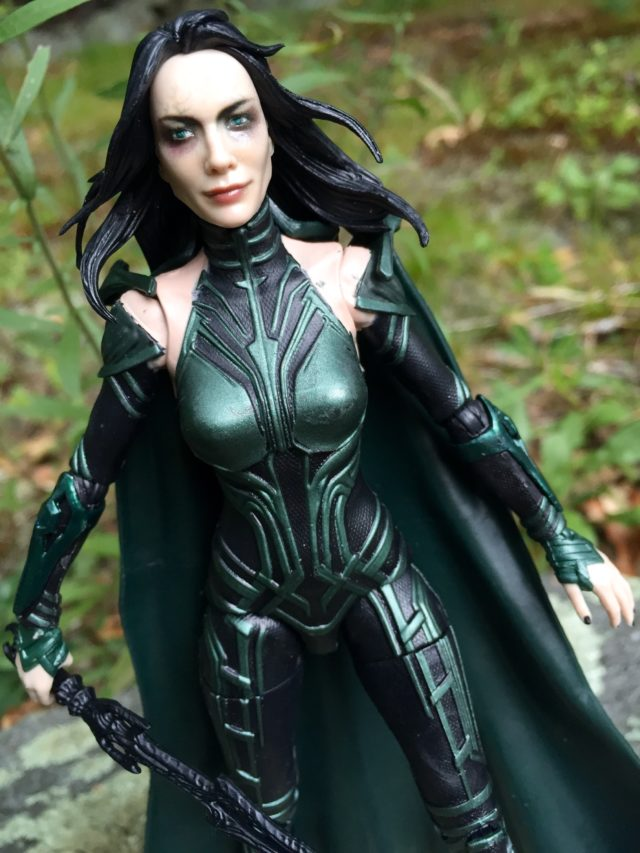Close-Up of Unmasked Hela Marvel Legends Figure Head Cate Blanchett