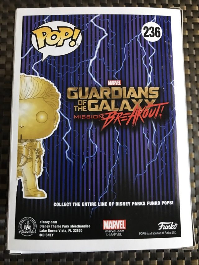 Box Back Guardians of the Galaxy Mission Breakout POP Vinyl The Golden Collector