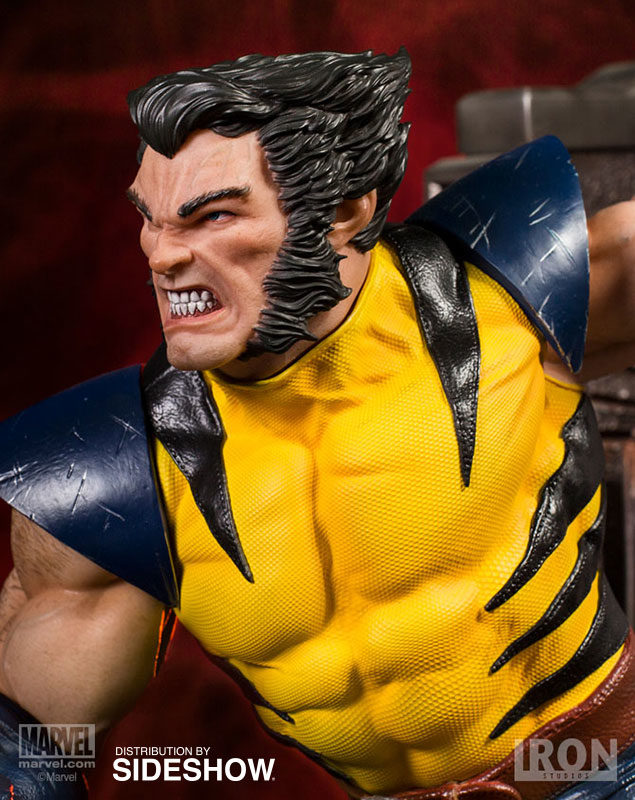 Close-Up of Iron Studios Unmasked Wolverine Logan Head